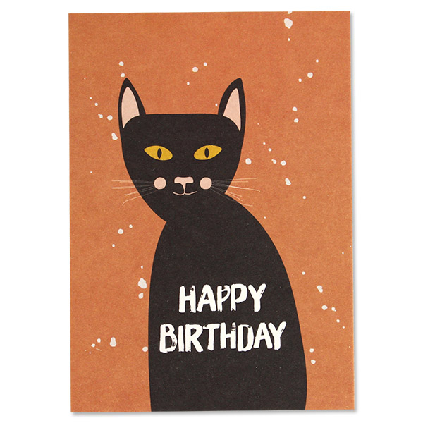 Postcard Cat Black Happy Birthday Avayves